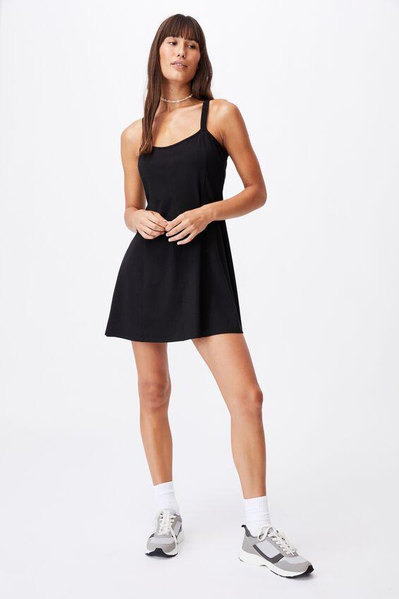 Turner Strappy Mini Dress, BLACK