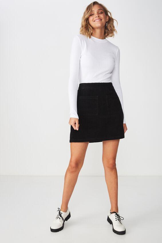 A Line Pocket Front Cord Mini Skirt, BLACK