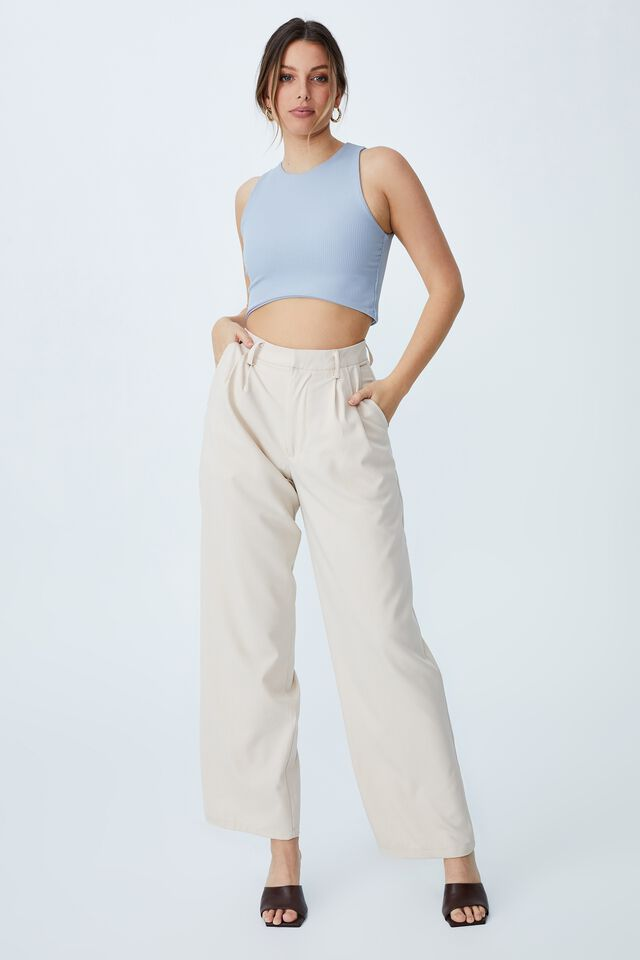 Day To Night High Low Crop Tank, SILVER BLUE