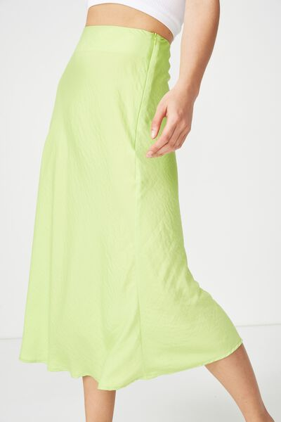 Woven Belle Bias Midi Skirt, GREEN GLOW