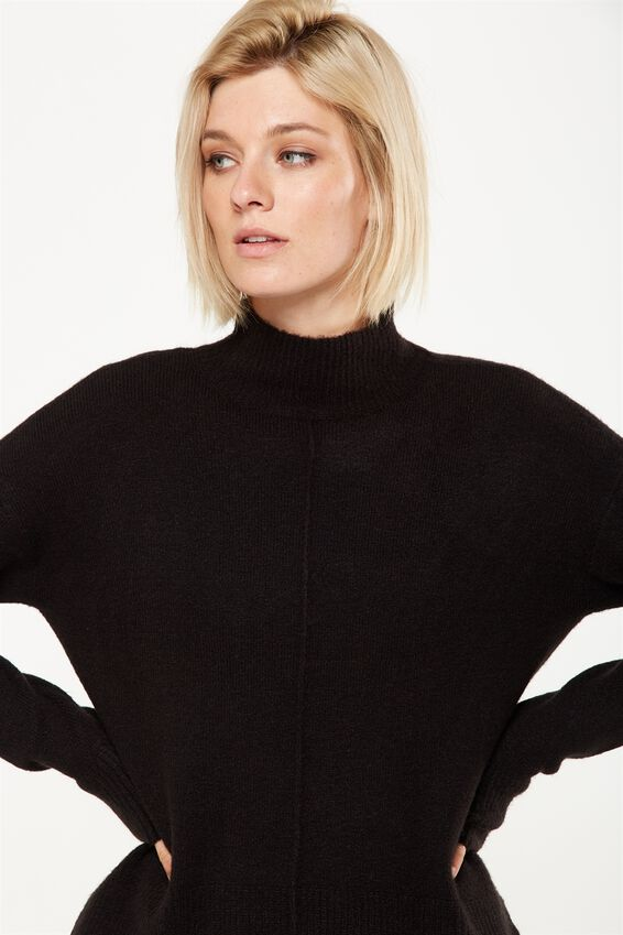 Renee Curved Hem Luxe Pullover, BLACK