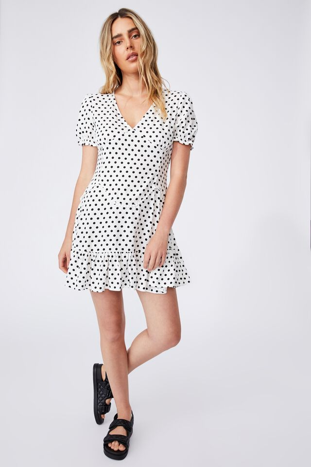 Woven Sam Short Sleeve Mini Dress, SALLY SPOT WHITE