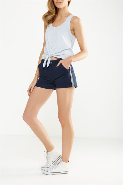 The Slant Pkt Chino Short, SATEEN WASHED MOONLIGHT RACING STRIPE UNCUFFED