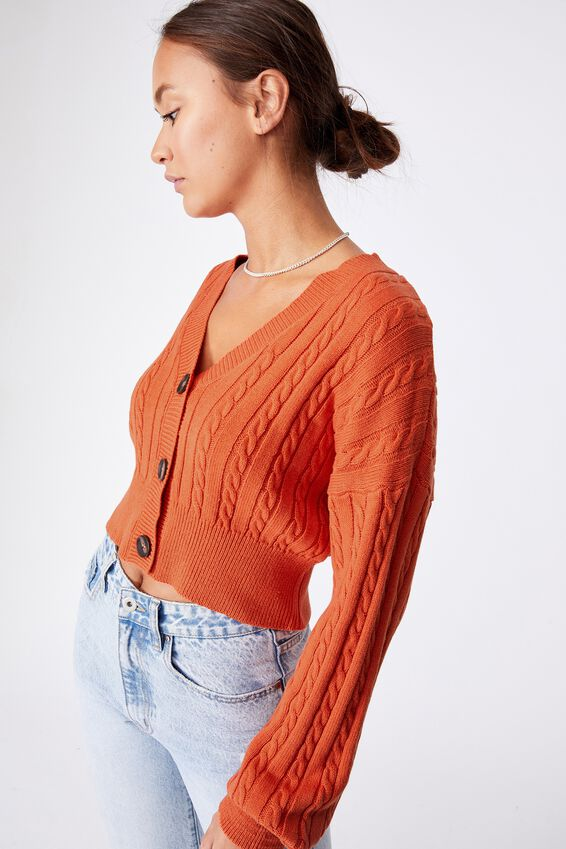 Crop Cable Cardi, CLAY DESERT