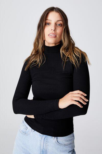 Rosa Long Sleeve Top, BLACK