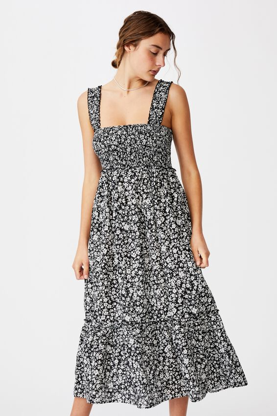 Woven Tess Shirred Strappy Midi Dress, NICOLE DITSY BLACK
