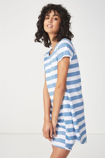 Tina Tshirt Dress 2, BLOCK STRIPE PRAIRIE BLUE/WHITE
