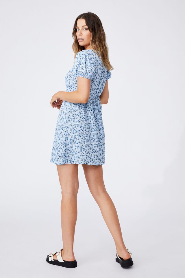 Woven Essential Tie Back Mini Tea Dress, KENDELLE DITSY AUTHENTIC BLUE