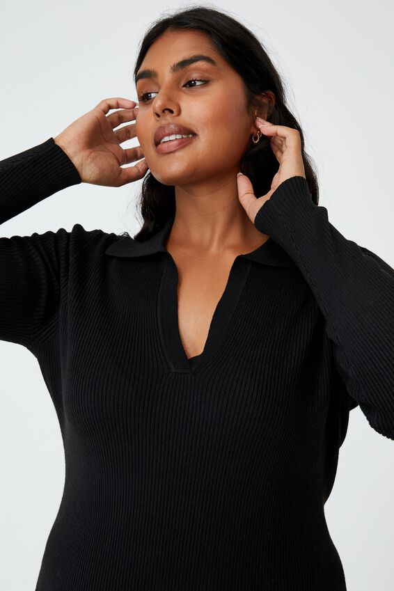 Curve Long Sleeve True Knit Midi Polo Dress, BLACK