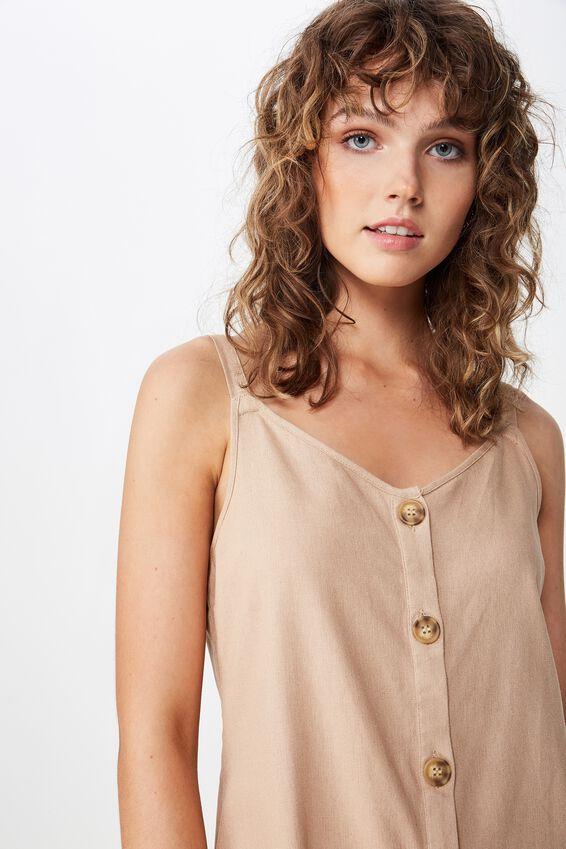 Woven Margot Slip Dress, BUTTON THROUGH BRUSH