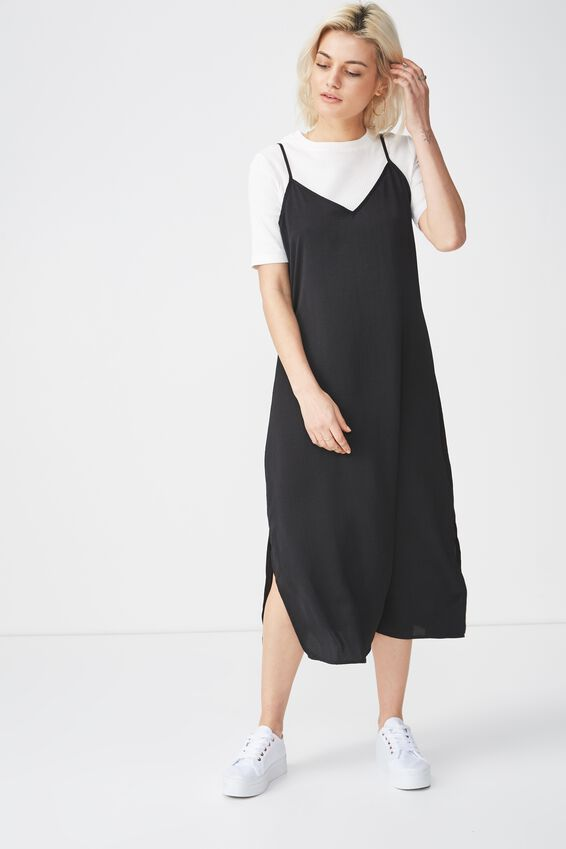 Woven Satin Midi Dress, BLACK