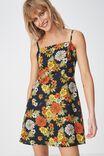 Woven Krissy Dress, LISA FLORAL DARK SAPPHIRE - L