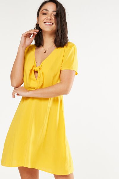 Woven Kya Knot Front Cap Sleeve Mini Dress, SUNFLOWER