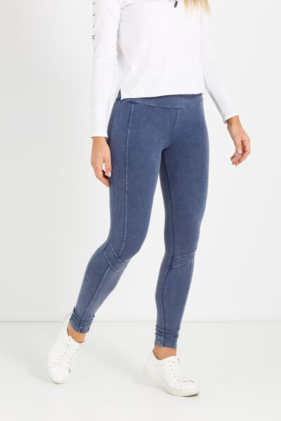 Dakota Detail Legging, WASHED DENIM PANEL SPLICE