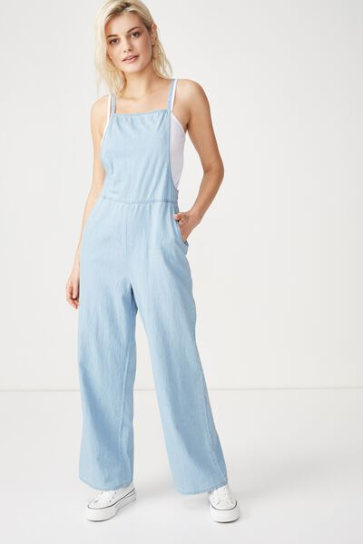 Woven Phoenix Overall Jumpsuit, CHAMBRAY