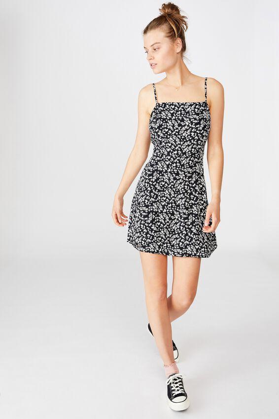 Woven Kendall Mini Dress, CORA DITSY BLACK