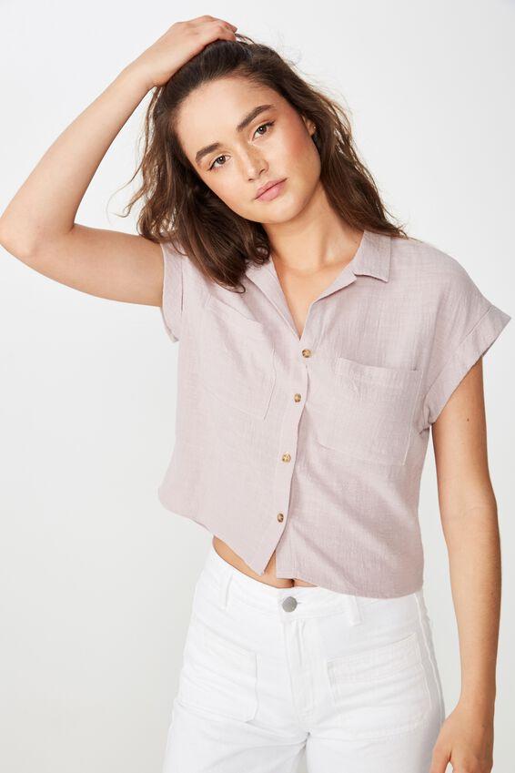 Emily Chopped Short Sleeve Shirt, CLOUD GREY TEXTURE