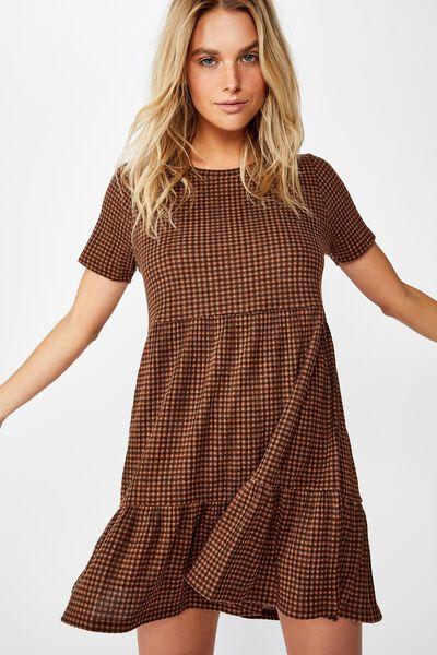 Carissa Short Sleeve Babydoll Mini Dress, LEXI CHECK TORTOISE SHELL