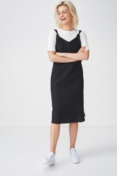 Woven Franco Check Midi Dress, BLACK