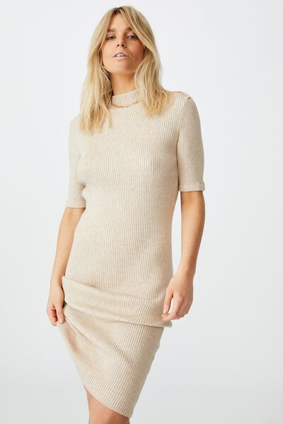 Tahlia True Knit Mini Dress, NATURAL MARLE