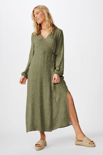 Woven Marlow Wrap Midi Dress, STELLA DITSY WINTER MOSS