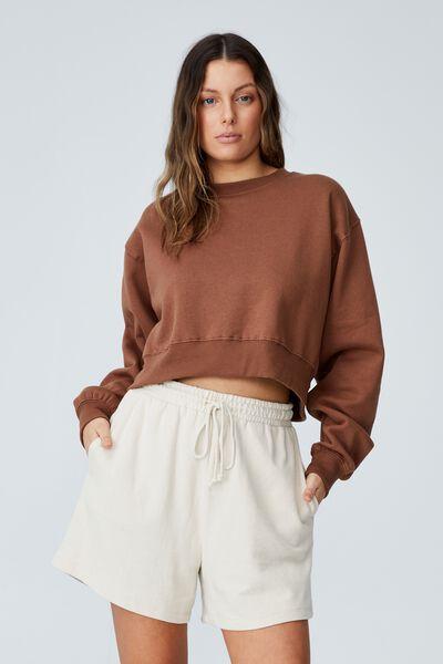 Classic Cropped Sweatshirt, LEAF BROWN