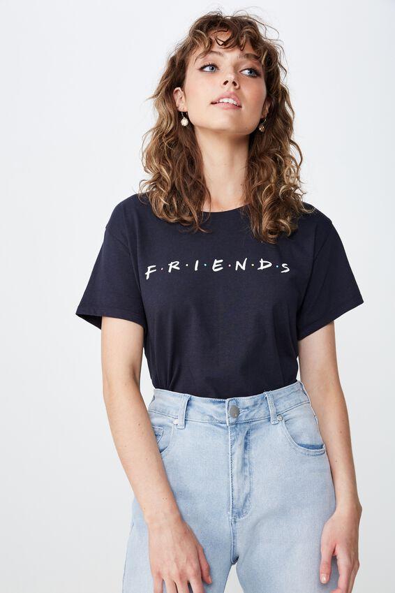 Classic Friends T Shirt, LCN WB FRIENDS LOGO/MOONLIGHT