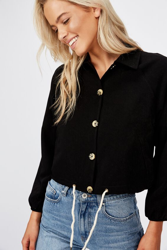 Cassidy Cropped Jacket, BLACK