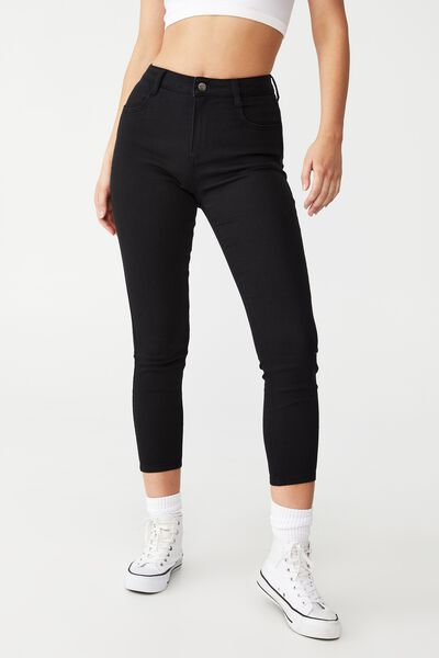 Mid Rise Cropped Super Stretch, BLACK POCKETS