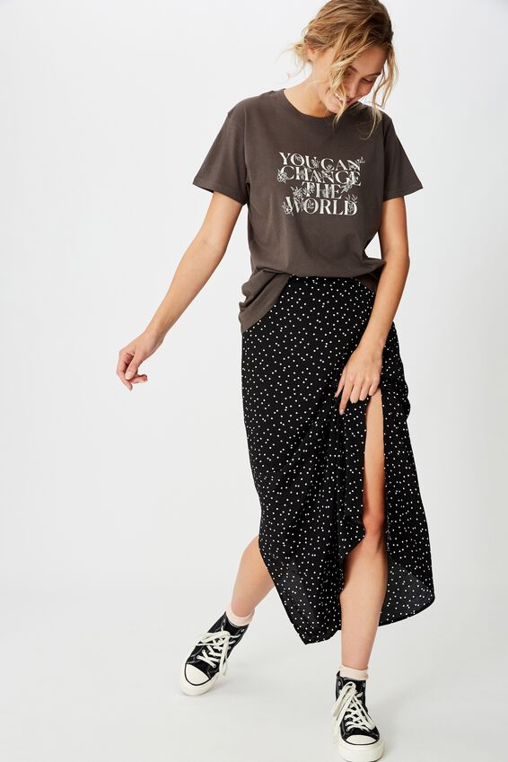 Classic Slogan T Shirt, CHANGE THE WORLD/EBONY