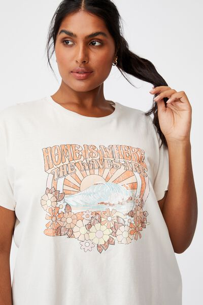 Curve Graphic Tee, HOME IS WHERE THE WAVE IS/WHITE SAND