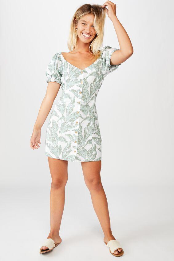 Woven Aurora Short Sleeve Mini Dress, ISLA TROPICAL JADEITTE