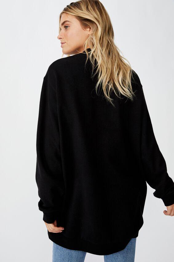 Mock Neck Oversized Fleece, BLACK
