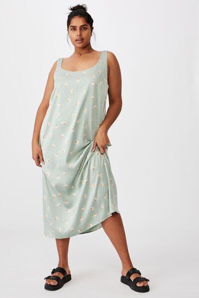 Curve Woven Maggie Slip Midi Dress, ARABELLA FLORAL WASHED GREEN
