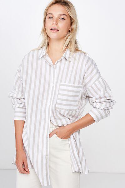 Pippa Oversize Shirt, KATIE STRIPE GOTHIC OLIVE