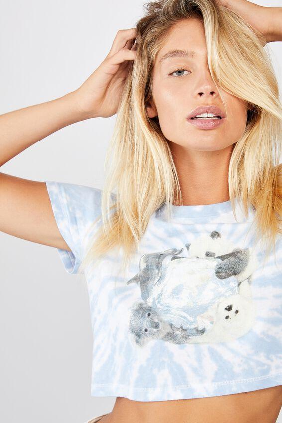Cara Graphic Crop T Shirt, ANIMAL LOVE/DUSTY BLUE TIE DYE