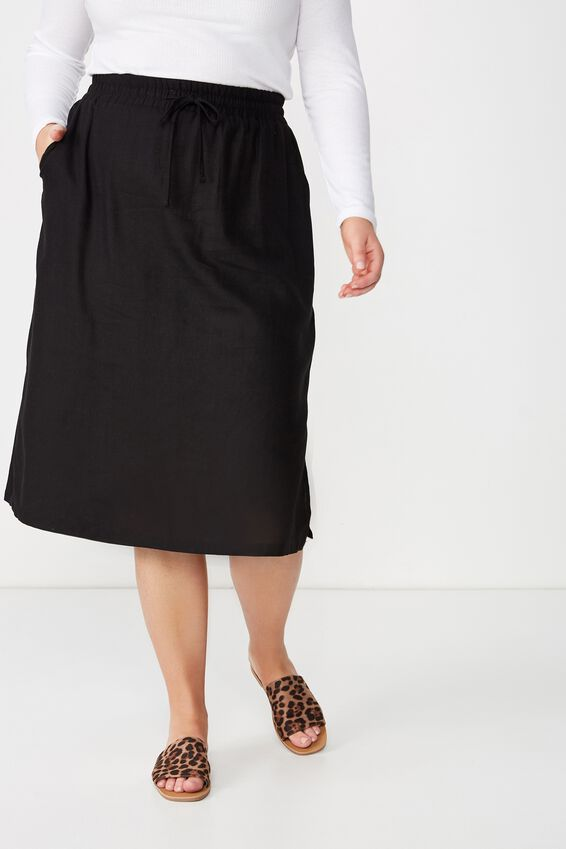Curve Linen Draw Cord Skirt, BLACK