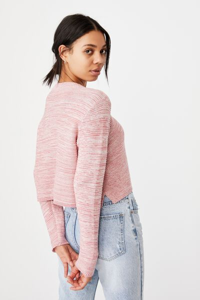 Cotton Cropped Pullover, CLASSIC PINK