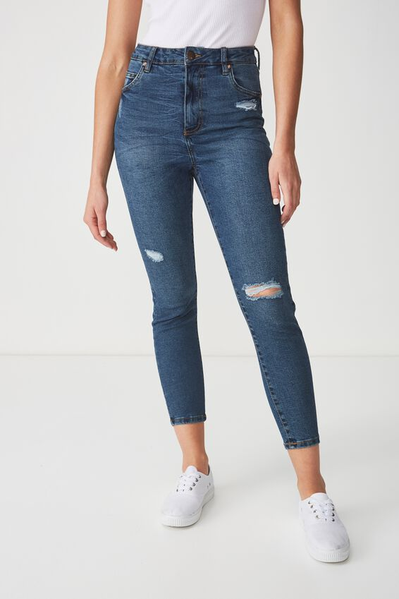 High Rise Grazer Skinny Jean, MID BLUE RIPS