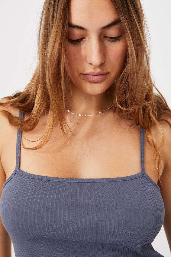 Bella Longlined Rib Cami, GRISAILLE