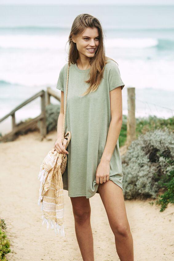 Tina Tshirt Dress 2, OIL GREEN MARLE