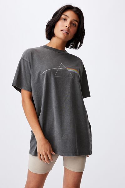 The Relaxed Boyfriend Graphic License Tee, LCN PER PINK FLOYD HERITAGE LOGO/SLATE GREY