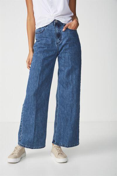High Rise Wide Leg Jean, DARK BLUE