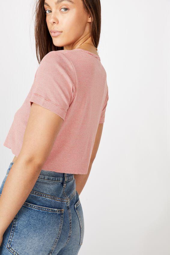 Jessie Button Through Henley Short Sleeve Top, MINI STRIPE FADED ROSE/WHITE