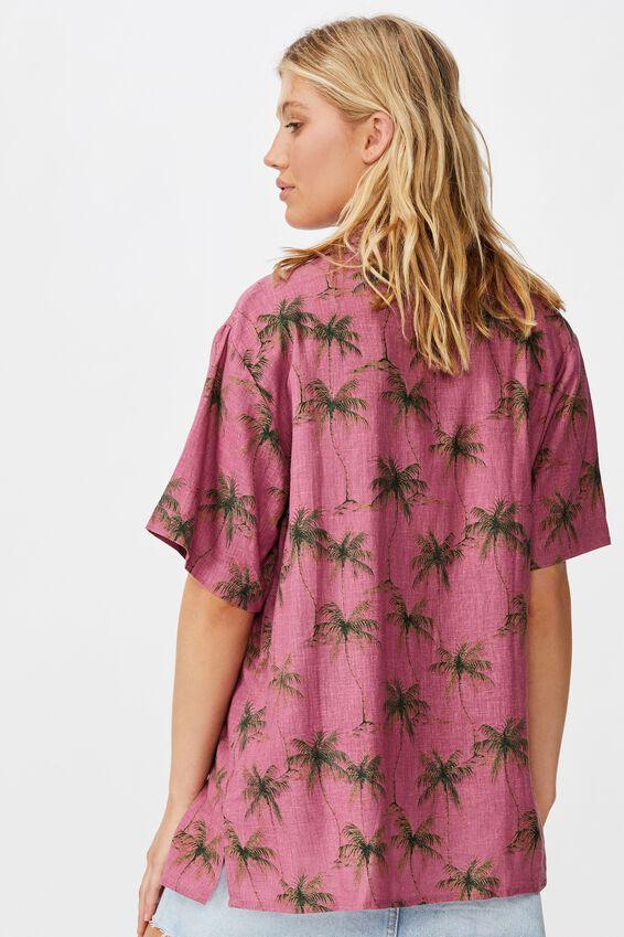 Tropical S/S Resort Shirt, DIANA PALM SUMMER CASSIS