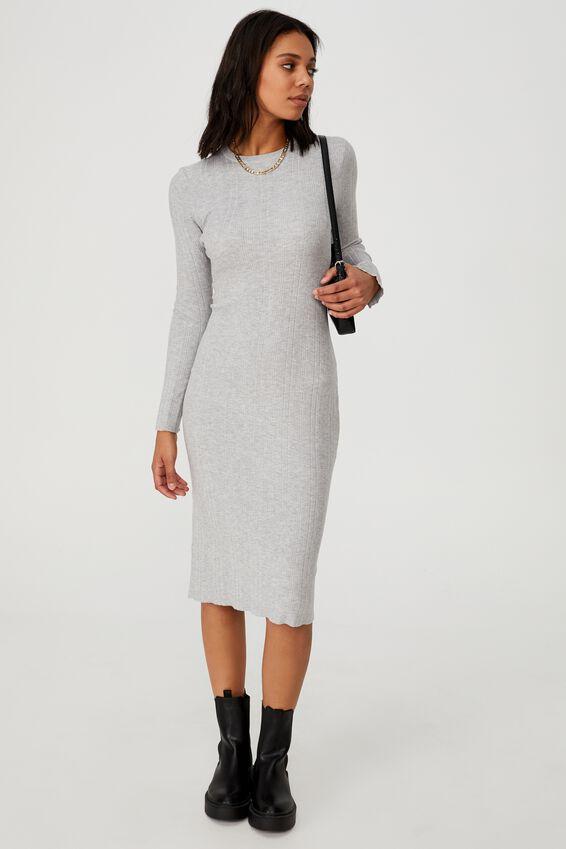 Ultimate Knit Midi Dress, LIGHT GREY MARLE