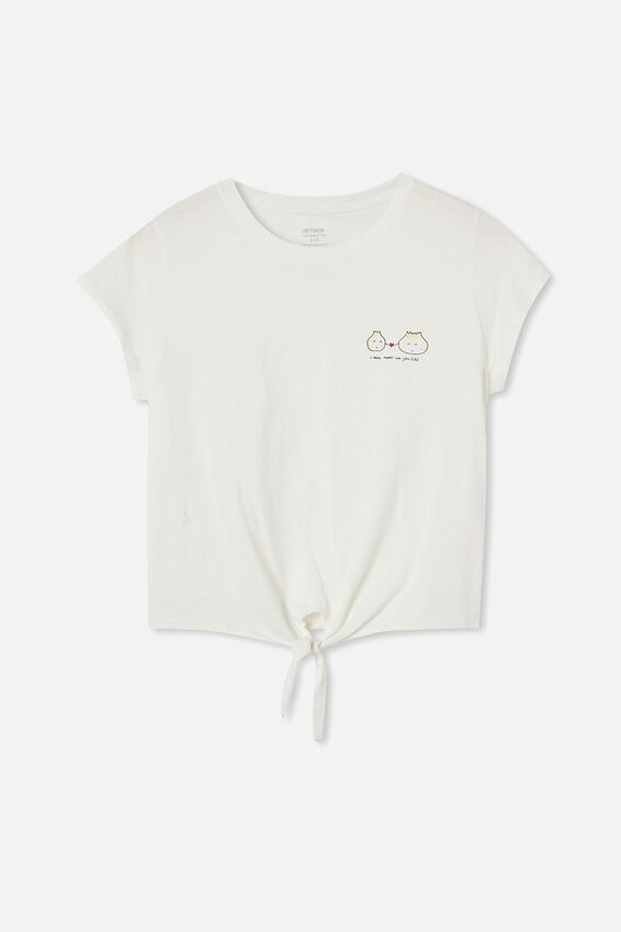 Tie Front Graphic Tee, LET YOU GAO/GARDENIA