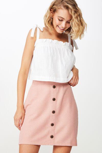 Gia Button Mini Skirt, ROSE TAN