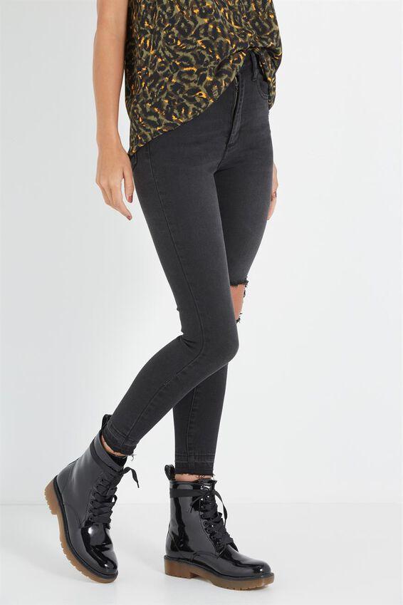 High Rise Grazer Skinny Jean, BLACK DECON