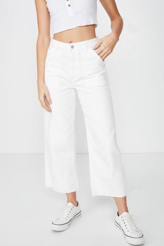 Wide Leg Cropped Jean, WHITE POCKETS